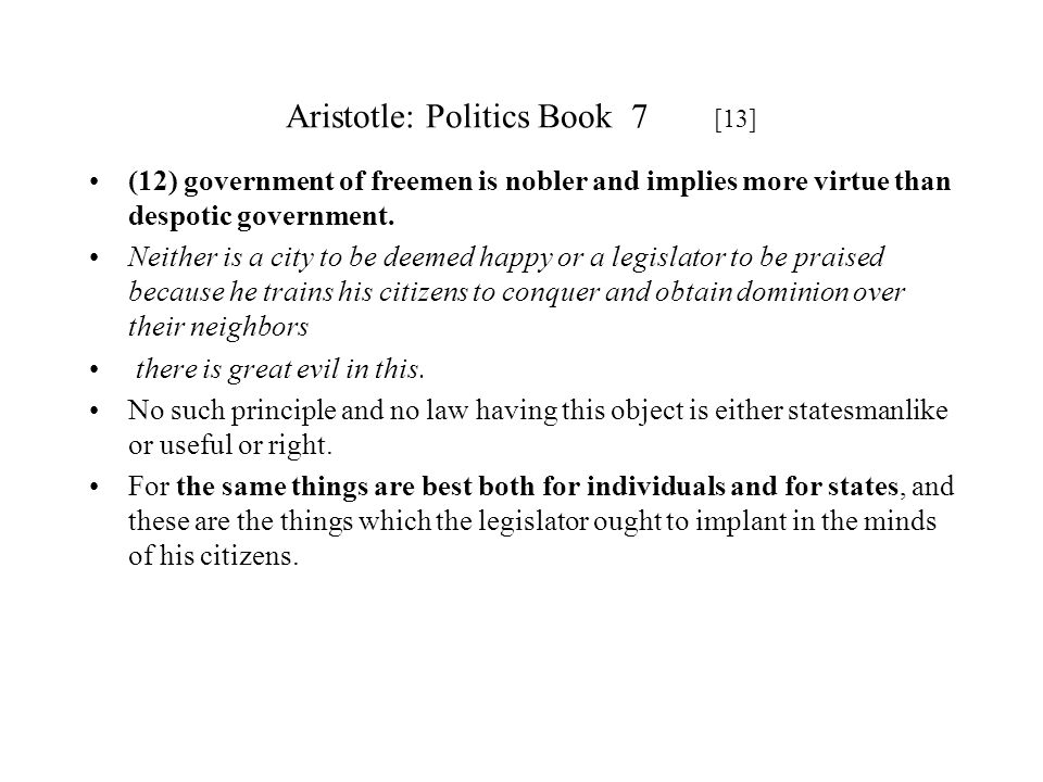 Aristotle: Politics Book 7 [13]